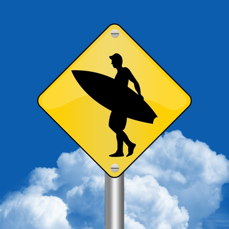 Yellow Rhombus Road Sign For Surfing Zone Against The Blue Sky Background  photo