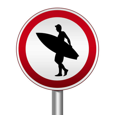 Circle Silver Metallic and Red Metallic Border Road Sign For Surfing Zone Isolated on White Background  photo