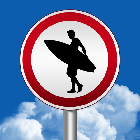 Circle Silver Metallic and Red Metallic Border Road Sign For Surfing Zone Against The Blue Sky Background  photo