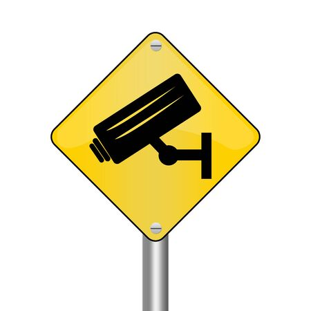 loitering: Yellow Rhombus Road Sign For No Trespassing With CCTV Sign Isolated on White Background  Stock Photo
