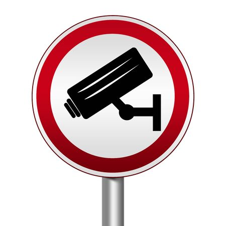 Circle Silver Metallic and Red Metallic Border Road Sign For No Trespassing With CCTV Sign Isolated on White Background Stock Photo - 17928124