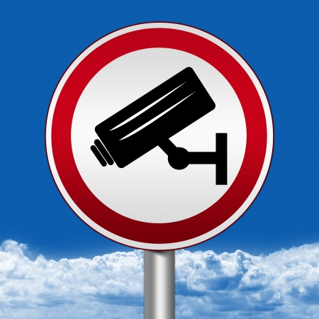 Circle Silver Metallic and Red Metallic Border Road Sign For No Trespassing With CCTV Sign Against The Blue Sky Background Stock Photo - 17928174