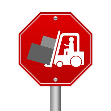 Hexagon Red Traffic Sign For Working Safely Around Forklifts Isolated on White Background  photo