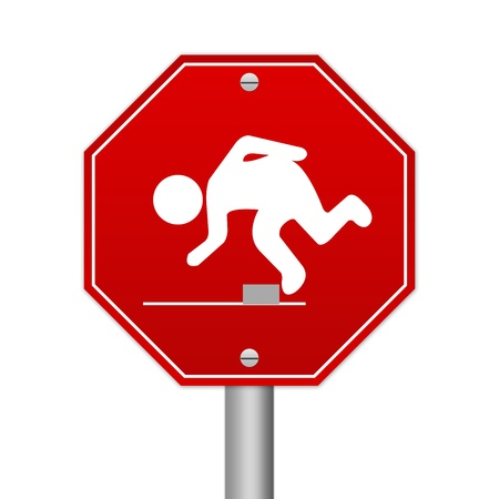 Hexagon Red Traffic Sign For Watch Your Step Isolated on White Background  photo