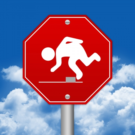 salience: Hexagon Red Traffic Sign For Watch Your Step Against The Blue Sky Background  Stock Photo
