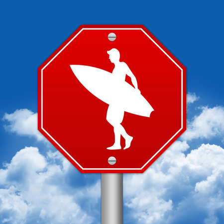 Hexagon Red Traffic Sign For Surfing Zone Against The Blue Sky Background  photo