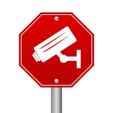loitering: Hexagon Red Traffic Sign For No Trespassing With CCTV Sign Isolated On White Background  Stock Photo