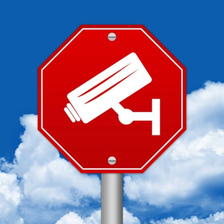 loitering: Hexagon Red Traffic Sign For No Trespassing With CCTV Sign Against The Blue Sky Background