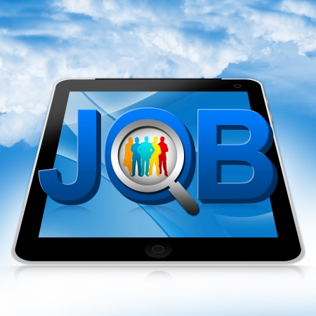 Job Opportunities Concept Present By Tablet PC With 3d Job And A Magnifying Glass Zoom In The Colorful Candidate Against The Blue Sky Background Stock Photo - 17928186
