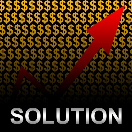 Business Concept Present by Silver Solution Text With The Rising Arrow In Orange Dollar Sign Background  photo