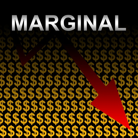 marginal returns: Business Concept Present by Silver Marginal Text With Decreasing Arrow In Orange Dollar Sign Background  Stock Photo