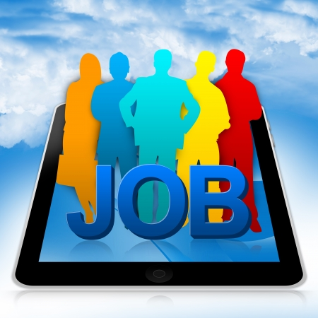 Job Opportunities Concept Present By Tablet PC With 3d Job And Colorful Candidate in Blue Sky Background  Stock Photo - 17979033