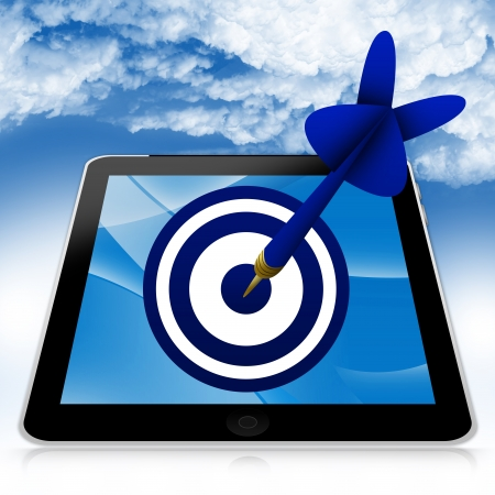 penetrating: Business and Marketing Concept Present By Tablet PC With Blue 3d Arrow Hitting a Blue Target in Blue Sky Background