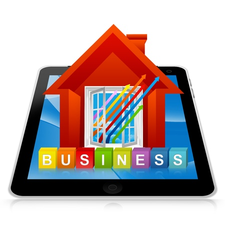 Business Solution Concept Present By Tablet PC With Colorful Business Cube Box And The Colorful Business Growth Arrow Through The Open Window Isolated On White Background  Stock Photo - 17978952