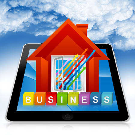 Business Solution Concept Present By Tablet PC With Colorful Business Cube Box And The Colorful Business Growth Arrow Through The Open Window in Blue Sky Background  Stock Photo - 17979032