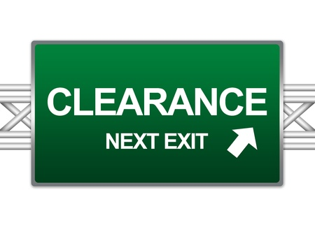 high priced: Green Highway Street Sign For Business Concept Present By Clearance Next Exit Sign Isolated On White Background  Stock Photo