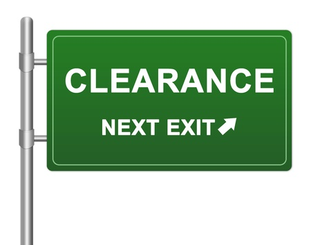 high priced: Business Concept Present By Green Highway Street Sign With Clearance Next Exit Isolated On White Background