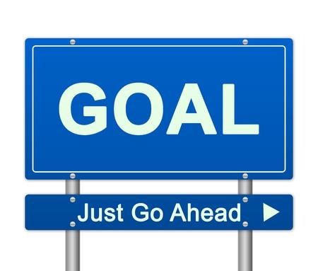 seguir adelante: Presente Concepto Negocios Por objetivo Just Go Ahead Azul Placa de calle aislada en el fondo blanco