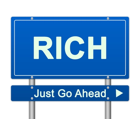 seguir adelante: Concepto de negocio actuales Por Blue Rich Just Go Ahead Calle signo aislado sobre fondo blanco Foto de archivo