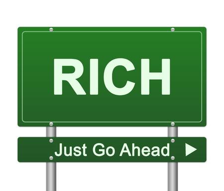 seguir adelante: Presente Concepto Negocios Por Green Rich Just Go Ahead Sign calle aislada en el fondo blanco