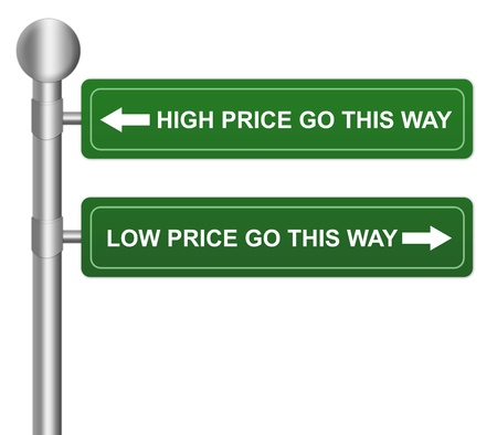 Green Highway Street Sign Pointing to High Price And Low Price Isolate on White Background For Business Selection Concept  photo