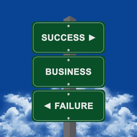 Business Concept Present By Green Street Sign Pointing to Success, Business And Failure Against A Blue Sky Background  photo