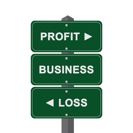 Business Concept Present By Green Street Sign Pointing to Profit, Business And Loss Isolated On White Background  photo