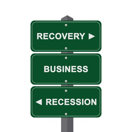 Business Concept Present By Green Street Sign Pointing to Recovery, Business And Recession Isolated On White Background  Stock Photo - 17979049