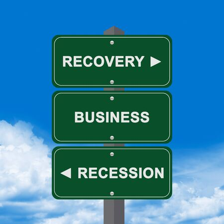 Business Concept Present By Green Street Sign Pointing to Recovery, Business And Recession Against A Blue Sky Background  photo