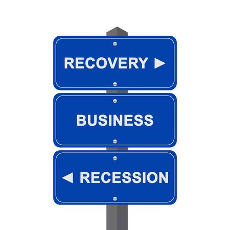Business Concept Present By Blue Street Sign Pointing to Recovery, Business And Recession Isolated On White Background  photo