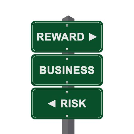 Business Concept Present By Green Street Sign Pointing to Reward, Business And Risk Isolated On White Background  photo