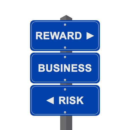Business Concept Present By Blue Street Sign Pointing to Reward, Business And Risk Isolated On White Background  photo