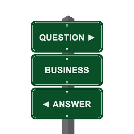 interrogatory: Business Concept Present By Green Street Sign Pointing to Question, Business And Answer Isolated On White Background  Stock Photo