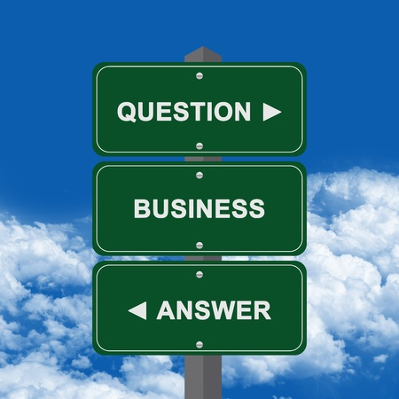 interrogatory: Business Concept Present By Green Street Sign Pointing to Question, Business And Answer Against A Blue Sky Background  Stock Photo