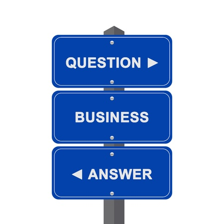 Business Concept Present By Blue Street Sign Pointing to Question, Business And Answer Isolated On White Background  photo