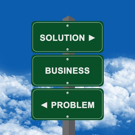 failed plan: Business Concept Present By Green Street Sign Pointing to Solution, Business And Problem Against A Blue Sky Background