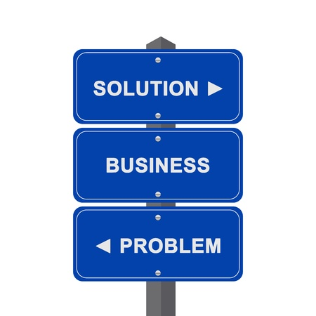 Business Concept Present By Blue Street Sign Pointing to Solution, Business And Problem Isolated On White Background  photo
