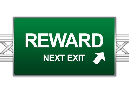 Green Highway Street Sign For Business Concept Present By Reward Next Exit Sign Isolate on White Background  photo