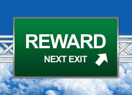 Green Highway Street Sign For Business Concept Present By Reward Next Exit Sign Against A Blue Sky Background  photo