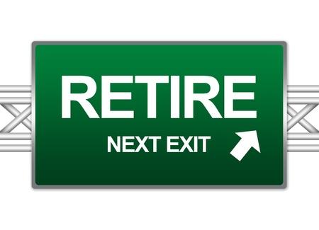 prendre sa retraite: Vert Highway Street Connexion Pour Pr�sent Concept En retraite Exit Sign Suivant Isoler sur fond blanc