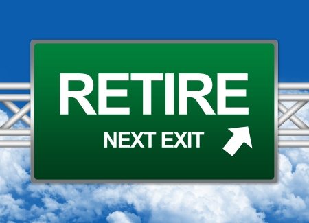 retire: Green Highway Street Sign For Business Concept Present By Retire Next Exit Sign Against A Blue Sky Background  Stock Photo