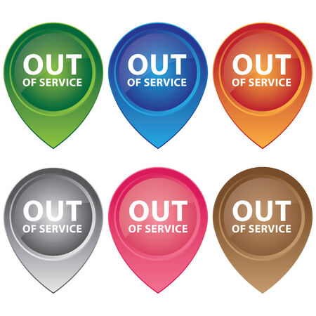 out of order: Graphic or Marketing Material For Any Kind of Business Present by Colorful Glossy Style Map Pointer With Out Of Service Text Inside Isolated on White Background