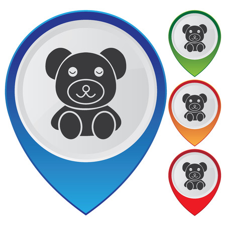 playroom: Business and Service Concept Present By Colorful Glossy Style Map Pointer With Teddy Bear, Nursery, Preschool, Playroom, Kid, Children or Toy Sign Isolated on White Background  Stock Photo