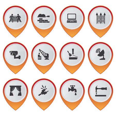 vdo: Business and Service Concept Present By Set Of Orange Glossy Style Map Pointer With Home Service Sign Isolated on White Background