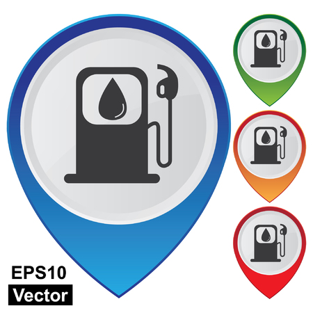 filling station: Vector, Business and Service Concept Present By Colorful Glossy Style Map Pointer With Petrol Station, Petroleum Station, Filling Station or Gas Station Sign Isolated on White Background  Illustration