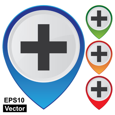 navigation aid: Vector, Business and Service Concept Present By Colorful Glossy Style Map Pointer With Cross Sign, Clinic or Hospital Sign Isolated on White Background