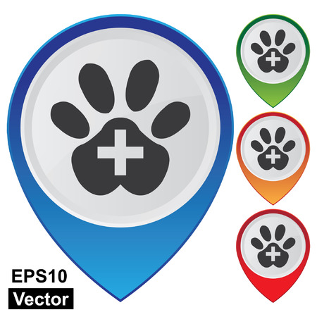 cat paw: Vector, Business and Service Concept Present By Colorful Glossy Style Map Pointer With Veterinary Care or Veterinary Clinic Sign Isolated on White Background