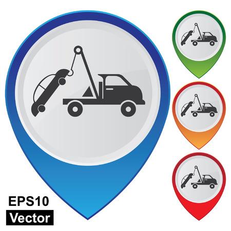 Vector, Business and Service Concept presenteren Kleurrijke Glossy Stijl Kaart Wijzer Met Tow Car Teken Geà ¯ soleerd op witte achtergrond