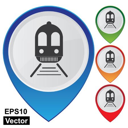 estación del metro: Vector, Empresa y Concepto Servicio Present Por coloridos brillantes Style Mapa Pointer Con El Tren, Tranv�a, Estaci�n de tren, la estaci�n de metro o Iniciar Logistic aislada sobre fondo blanco Vectores