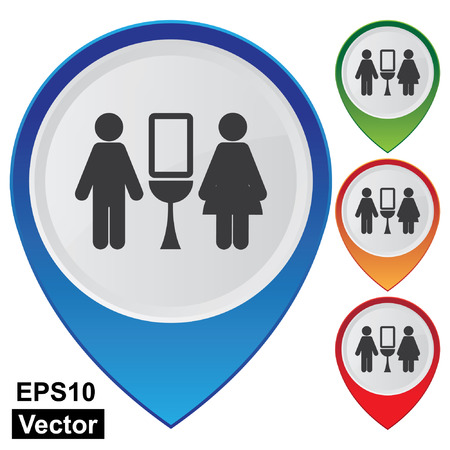 Vector, Business and Service Concept Present By Colorful Glossy Style Map Pointer With Toilet, Washroom, Restroom, Lavatory or WC Sign Isolated on White Background  Vector